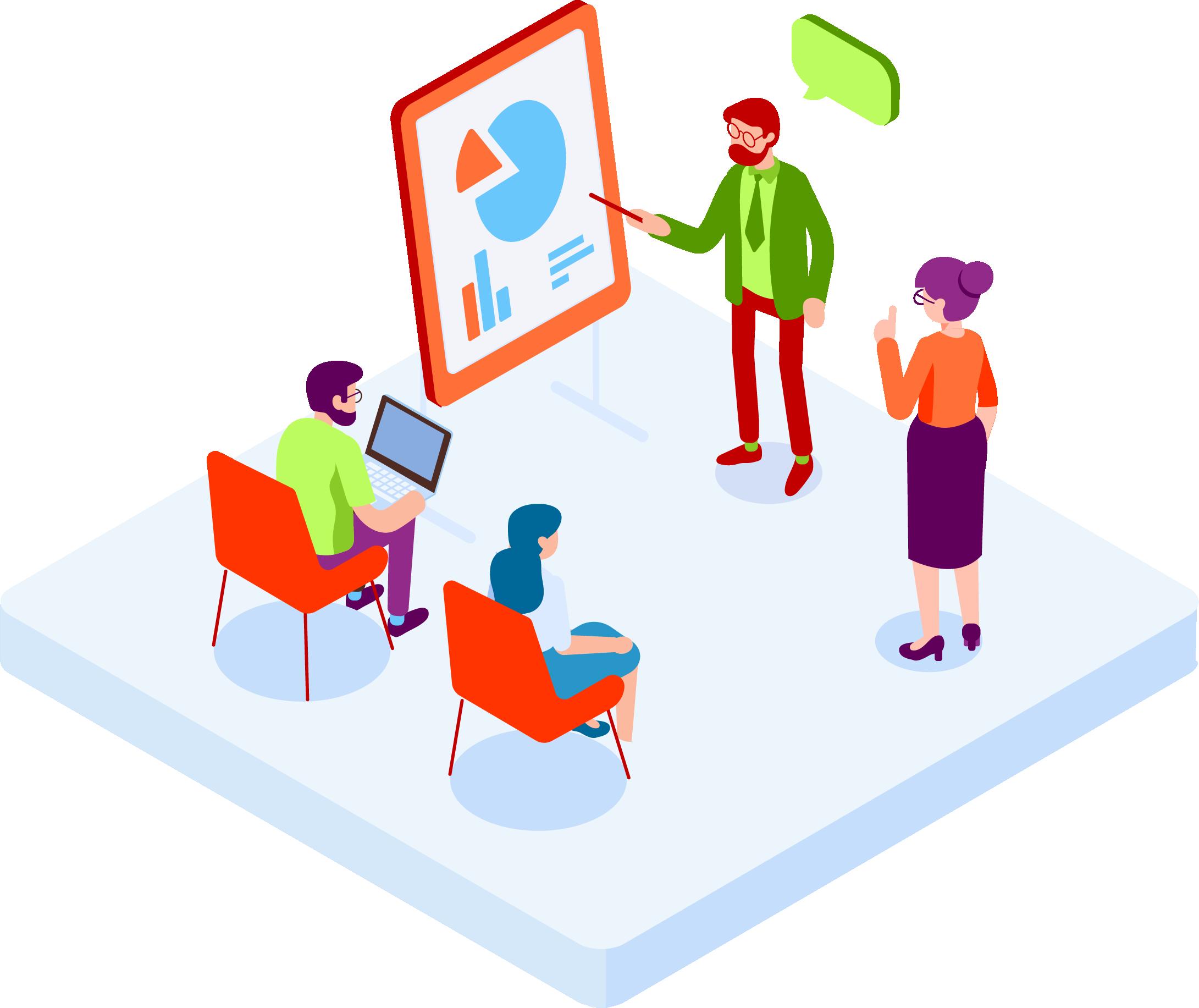 Team planning custom marketing solution