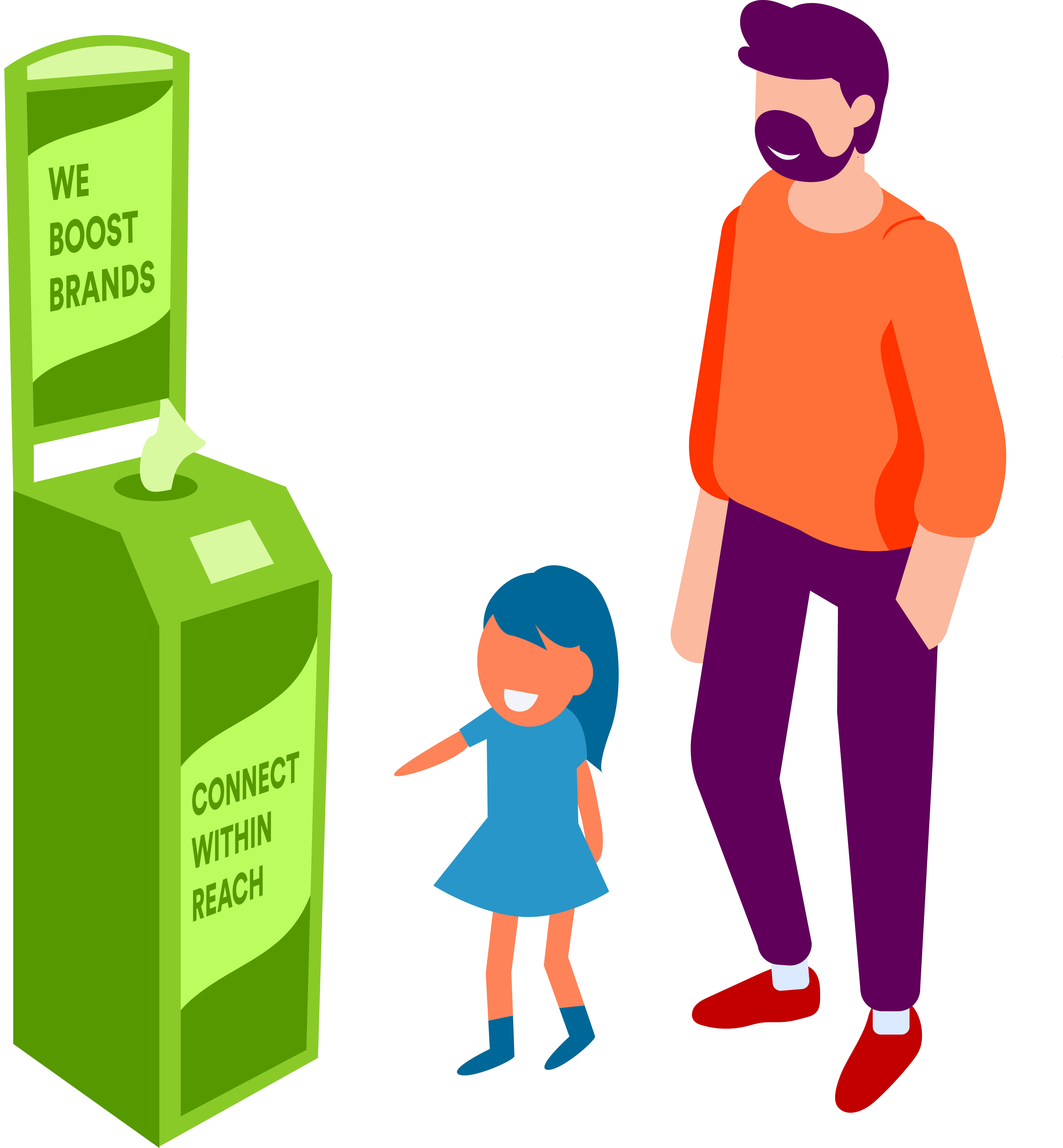 Family using national advertisement wellness billboard