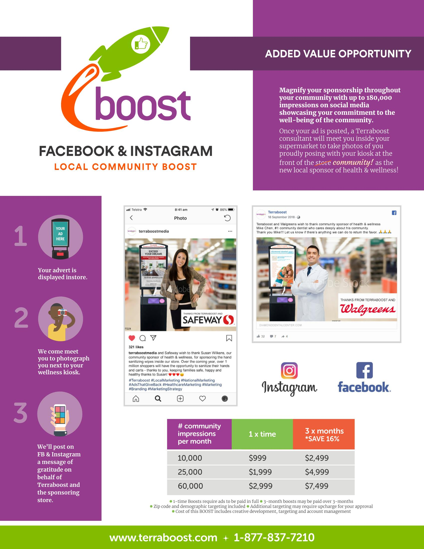 Facebook and Instagram local boost one sheet
